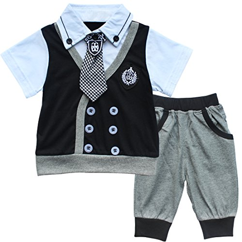 iefiel baby jungen gentleman bodysuit anzug grau 2. Black Bedroom Furniture Sets. Home Design Ideas